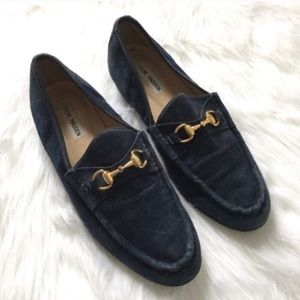 [Steve Madden] blue suede leather buckle loafers